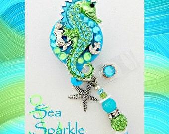 Sea Sparkle Seahorse ID reel Badge holder~Gorgeous Ultimate Bling Badge~Beach seahorse Badge Reel EG18