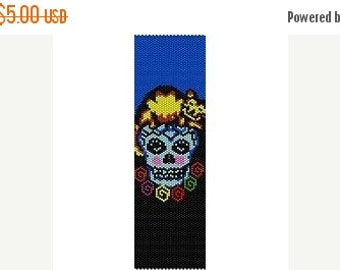 SALE Instant Download Beading Pattern Peyote Stitch Bracelet Catted Sugar Skull Seed Bead Cuff