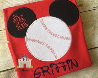 Mickey or Minnie Mouse Baseball appliqued T-shirt customized in your team colors and Team name. Inspired by Minnie Mouse and Disney.