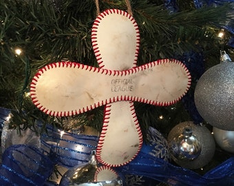 Authentic Baseball cross Ornament