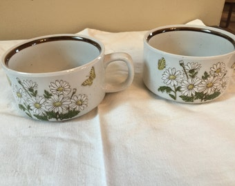 Vintage Flower Soup Wide Mouthed Mugs