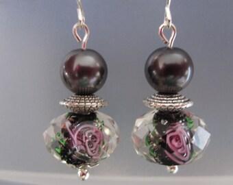 Black Lampwork Floral Bead Earrings