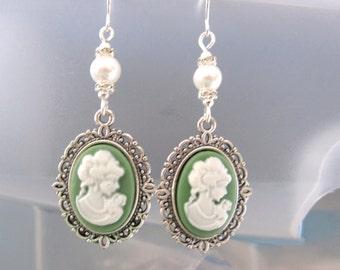 Green Cameo Dangle Earrings
