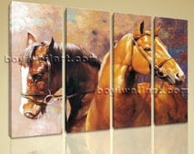 Contemporary Abstract Landscape Horse Painting Print Canvas Wall Art Home Decor, Large Horse Wall Art, Living Room, Rodeo Dust