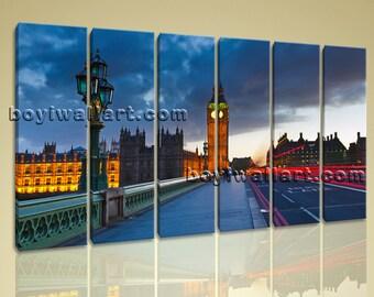 Large 6 Pieces London Tower Bridge Print Canvas Large Wall Art Home Decor,  Landmarks painting