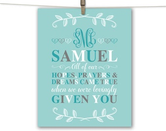 Custom adoption gift - adoption wall art for baby boy - mint and gray nursery - adoption sign - gift for adopted child