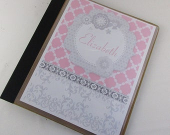 Girl Photo Album baby shower gift personalized photo book gray pink damask scrapbook keepsake 4x6, 5x7 or 8x10 pictures 564