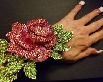 Swarovski Rose Crystal Cuff Wedding Bridal Jewelry Haute Couture Rose Rhinestone Cuff Pink Rhinestone Cuff Black Tie Cuff Dramatic Pink Cuff
