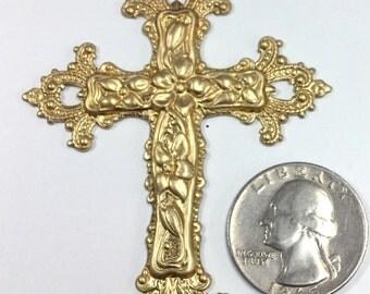 "1 Ornate Cross Raw Brass Stamping 3 x 2.25"" Ful 8213"