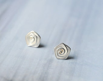 FREE SHIPPING* Sterling Silver Rose Stand Stud Earrings
