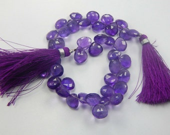 Shop Sale.. PURPLE AMETHYST Pear Briolettes, Luxe AAA,  10 mm, Medium Royal Purple, faceted, february birthstone wholesale beads