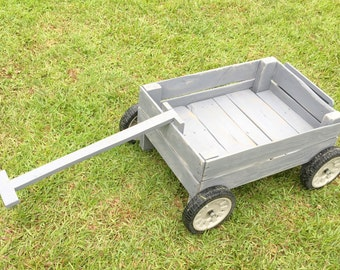 Rustic Wood Wagon, Weathered Grey- Photography Prop, Yard Decor w rubber rolling wheels