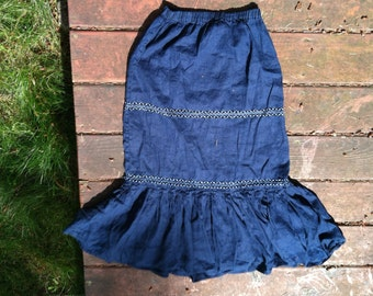 Denim Skirt Woman Small Ruffled Denim Maxi Skirt Layered Maxi Skirt Summer Denim Skirt Boho Hippy Skirt Vintage Denim Skirt Mermaid Skirt