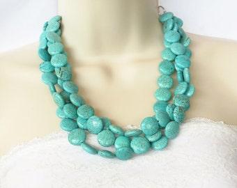 Turquoise Wedding Necklace - Chunky Turquoise Necklace - Teal Bridesmaid Jewelry - Turquoise Bridesmaid Jewelry - Cowgirl Necklace - Beach