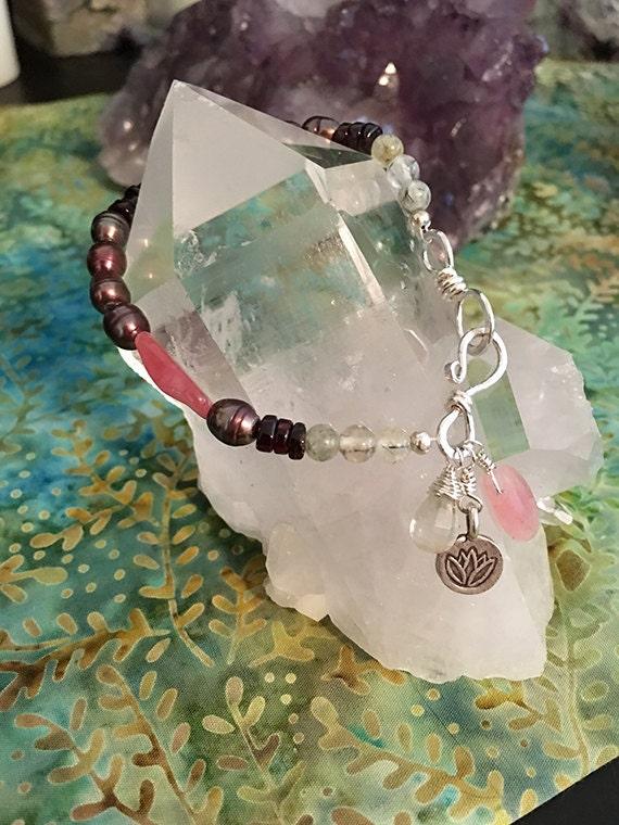 Pearl, Garnet, Green Amethyst Bracelet, Multi Gemstone Bracelet, Pink tone Bracelet. Silver Charm Bracelet, Rhodochrosite