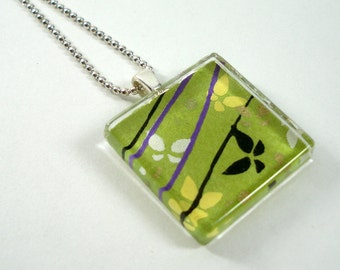 Japanese Chiyogami Paper Pendant - Green & Purple Butterflies - Square Glass Tile Pendant w/Chain - Butterfly Necklace - Japanese Necklace