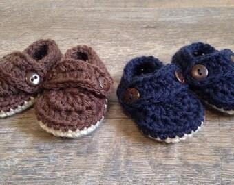 Crochet Boy Shoes, Preemie baby shoes, Preemie Crochet Loafers, Newborn Booties, Baby Boy Boat Shoes,