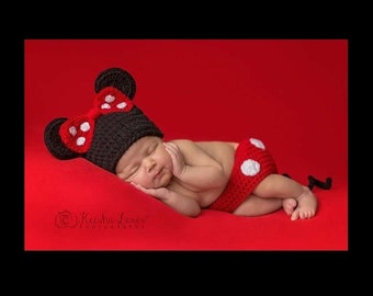Preemie Minnie Mouse, Minnie Mouse Photo Prop, Disney Baby Photo Prop, Preemie Newborn Minnie Mouse, Preemie Photo Prop