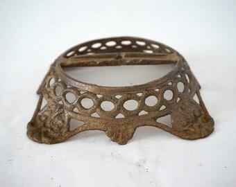 Vintage Antique Cast Steel Ornate Metal Lamp Base for Repurpose