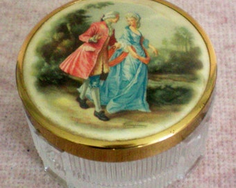 Footed Glass Dresser / Vanity Box with Portrait Lid - 4592