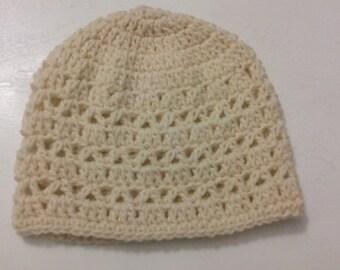 Crochet Hat Cap Beanie -Beige