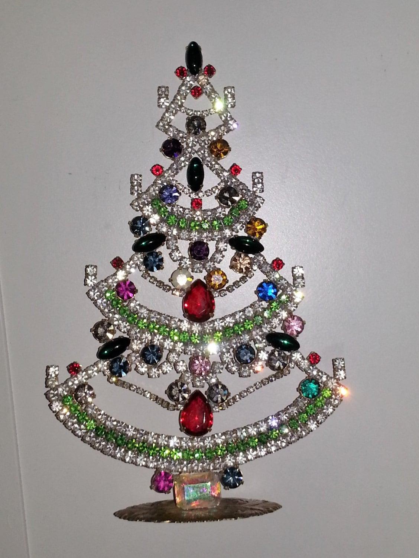 Rhinestone Crystal Garland Vintage Christmas Tree Table Top