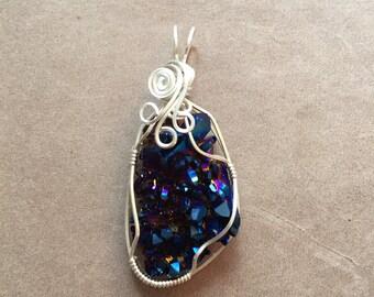 Royal Aura Cobalt Aura Quartz Crystal Cluster Wire Wrapped Pendant, Sterling SIlver Pendant