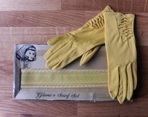 Vintage Gloves | Yellow Gloves | Formal Gloves | Vintage Gifts | Gifts For Mom | Womens Gloves Set | Evening Gloves | Ladies Gloves. Size 6