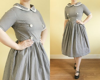Vintage 50s Dress | Gingham Dress | Check Dress | Peter Pan Collar Dress | Swing Dress | 50s Day Dress | Picnic Dress | Summer Dress. S UK10