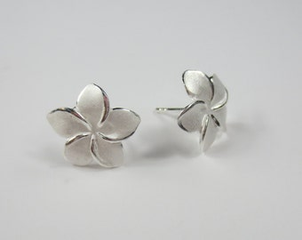 Sterling Plumeria Posts/.925 Sterling Silver Hawaiian Studs/Frangipani Stud Earrings/Hawaiian Jewelry/Hawaiian Earrings/Tropical Earrings