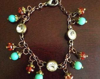 Boho Style Bracelet, Charm Bracelet, Bead Bracelet, Crystal Bracelet, Southwestern Bracelet, Country Western Necklace, Birthday Gift