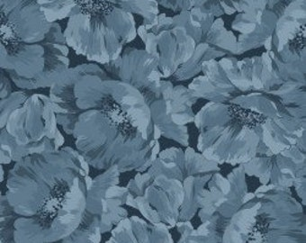 Poppies Full Bloom- Blue, Fabric by the Yard