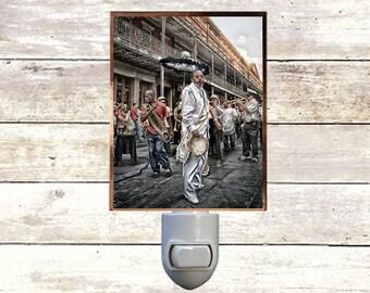 "Night Light ""Tambourine Man"", Handmade, Copper Foiled, New Orleans art"