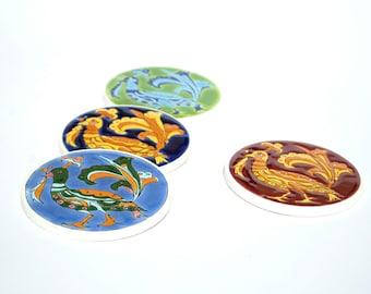 Peacock Coaster, Retro Coaster, Ceramic Peacock Decor, Drink Coaster, Greek Art, Pottery Coaster, Tile Coaster, Peacock Decor, Peacock Art