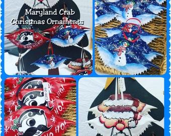 Maryland Blue Crab Christmas Ornaments