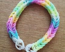 Rainbow Pastel Loom Bracelet Kids Adults Gift Party Wear Colorful Stretchy Bracelet Waterproof United Kingdom UK
