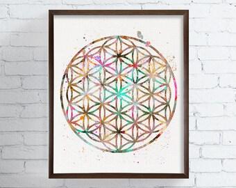 Flower Of Life Art, Flower Of Life Print, Watercolor Flower Of Life, Sacred Geometry, Spiritual Wall Art, Mandala Art, Yoga Wall Art, Zen
