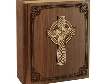 Walnut Book with Celtic Cross Wood Cremation Urn