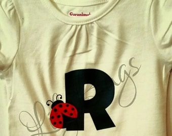 Customized Toddler/Youth Zebra Print Initial T-Shirt, Customized Vinyl Ladybug Initial T-Shirt