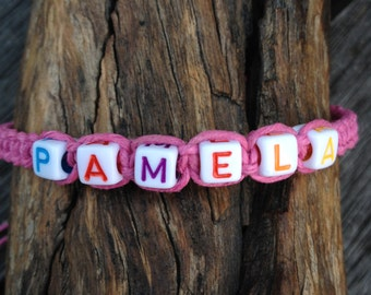Personalised Hemp Friendship Bracelet/Anklet/Wristband with Mixed Colour Letter Beads