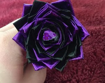 Sparkly Purple & Black Duct Tape Flower Pen