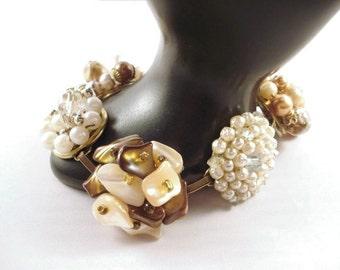 Brown And Cream Earring Bracelet Repurposed Vintage