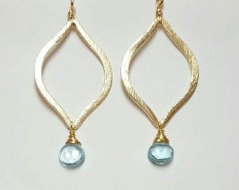 Arabesque Blue Topaz Drops, 14k gold filled wires