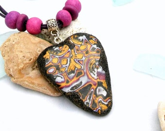 SALE Necklace Polymer Clay Jewelry  Handmade Purple Violet Heart
