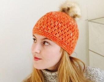 Cap with Pompon Orange