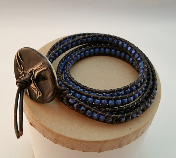 Quadruple Wrap Bracelet - leather and glass beads with handmade ceramic button clasp