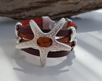 wide brown Leather Bracelet with starfish
