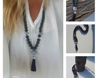 Lava beaded, mala, yoga necklace, Zen Necklace