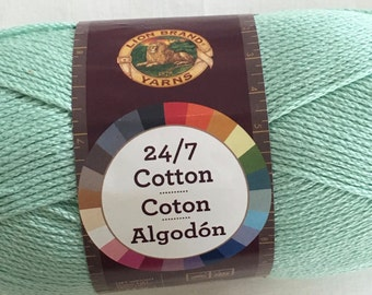 Lion Brand 24/7 Cotton - worsted weight mercerized cotton yarn - color 156 Mint