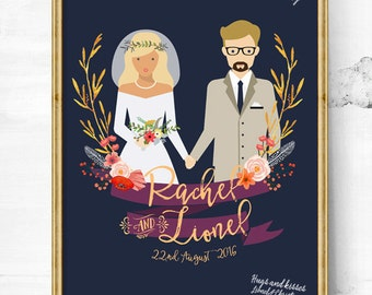 Wedding guest book alternative - Guest Book Wedding - Personalized sketch - Couple illustration - Unique Wedding illustration poster